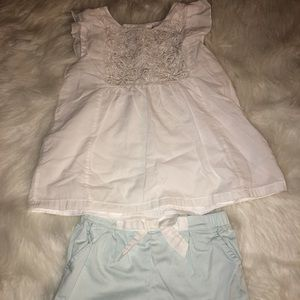 White and mint green outfit